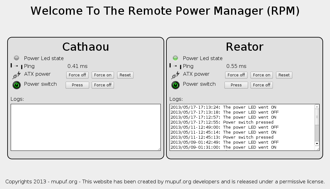 A screenshot of the Remote Power Manager shows the ping time of both connected machines