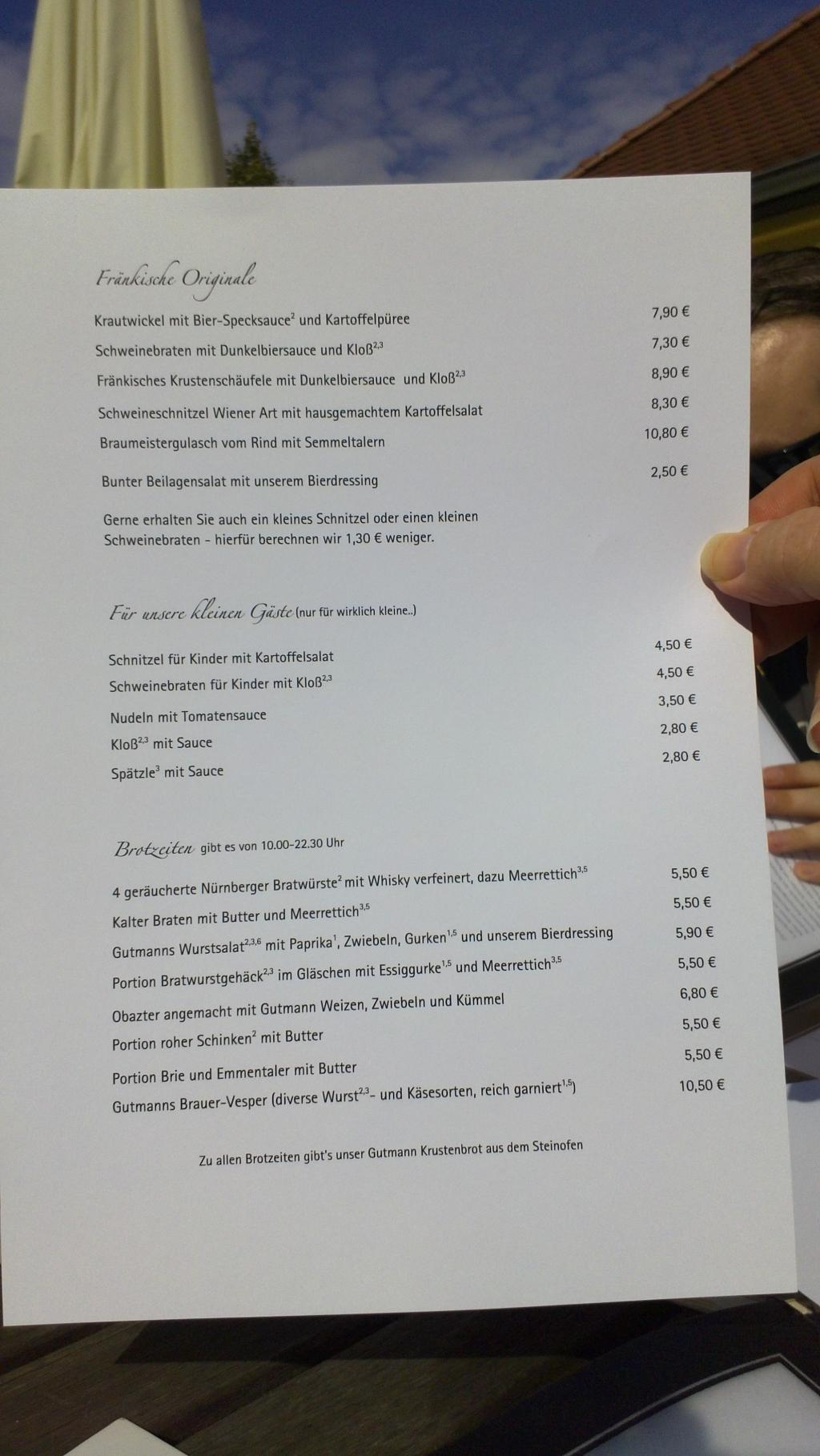 Our lunch menu (German)
