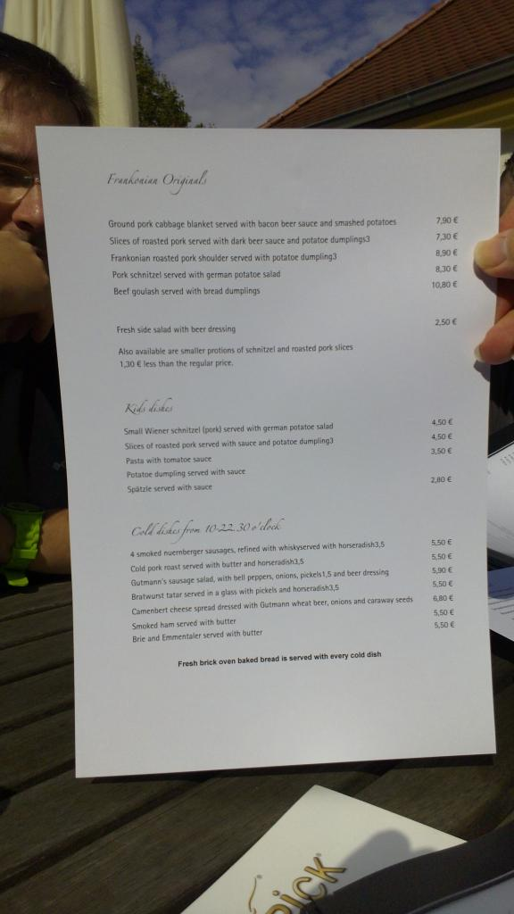 Our lunch menu (English)